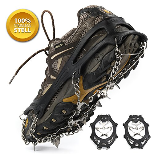 Weanas Multi-Function Anti-Slip Ice Cleat Shoe Boot Tread Grips Traction Crampon Chain Spike 1 Pair (12-Crampon, L)
