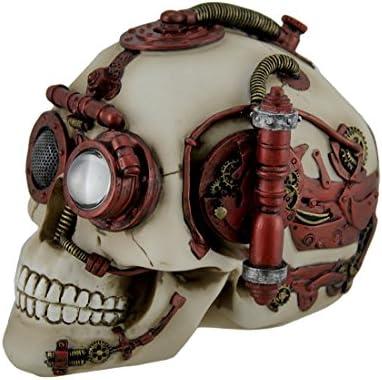 Steampunk Gearwork Skull with Secret Stash Drawer Trinket Box Collectible