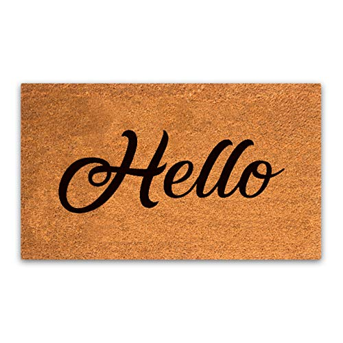 MPLUS Pure Coco Coir Doormat with Heavy-Duty PVC Backing - Hello - Perfect Color/Sizing for Outdoor/Indoor uses. Pile Height: 15mm - Size: 18-Inches x 30-Inches