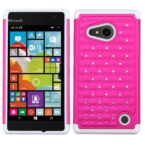 Asmyna Carrying Case for Microsoft Lumia 735/730 - Retail Packaging - Hot Pink/Solid White (Cell Lumina Cases Phone Nokia)