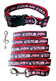 Pets First Cleveland Indians Nylon Collar and Leash (MLB Official - Size Large) with Chrome Heart Key Charm