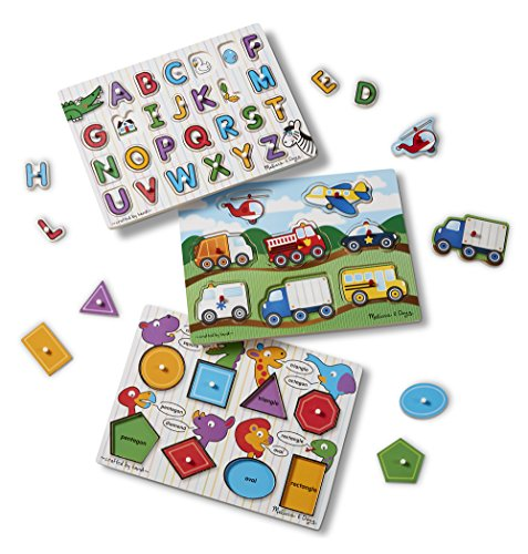 n Peg Puzzles Set - Alphabet, Vehicles, and Shapes (See Inside Alphabet Puzzle)