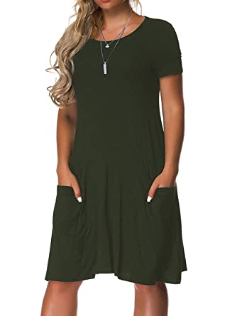 77339b7d2b8 VERABENDI Women s Plus Size Short Sleeve Dress Casual Loose Pocket T-Shirt  Dress Army Green
