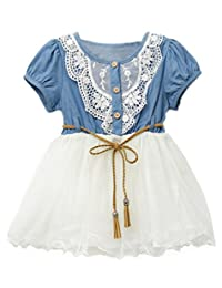 Fashion Girls Baby Kids Cute Lace Belt tutu Denim Tulle Full Dress Princess1-6Y