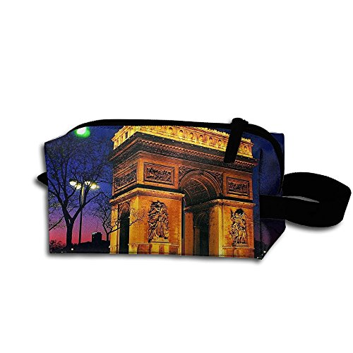 Makeup Cosmetic Bag Triumphal Arch In Paris Nihght Medicine Bag Zip Travel Portable Storage Pouch For Mens Womens