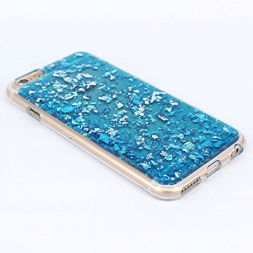 JIAXIUFEN TPU Coque - pour Apple iPhone 6 6S Silicone Étui Housse Protecteur - Spark Glitter Briller Diamond Star Clair Transparent - Blue