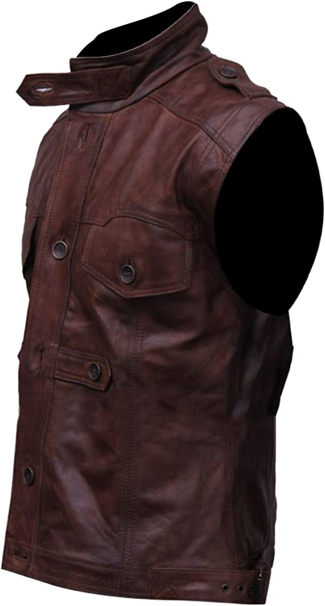 III-Fashions Mens Classic Slim Fit Retro Motorcycle Biker Dark Brown Leather Vest