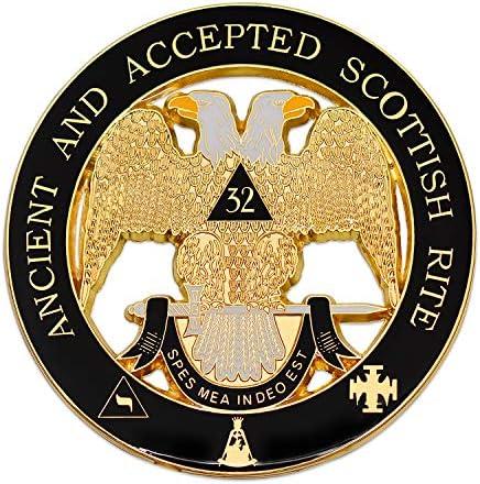 32nd Degree Ancient & Accepted Scottish Rite Round Masonic Auto Emblem - [Black & Gold][3`` Diameter]