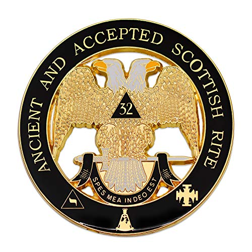 (32nd Degree Ancient & Accepted Scottish Rite Masonic Round Black Auto Emblem - 3
