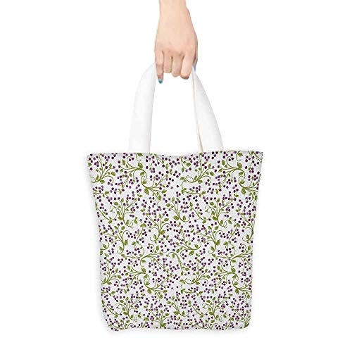 - Handbag or crossbody messenger bag,Flower Floral Pattern Wild Berries Ornamental Curvy Branches Foliage Fruits Botanic,Reusable Grocery Bags,16.5