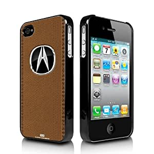 Acura Logo Brown Stitched Leather Look iPhone 4 4S Black Cell Phone Case
