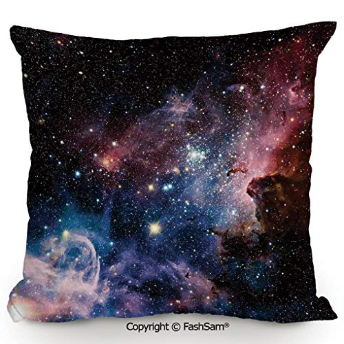 FashSam Polyester Throw Pillow Cushion Stars Nebula Colorful Explosive in Space Galaxy Astronomic Magical Picture Print for Sofa Bedroom Car Decorate(24