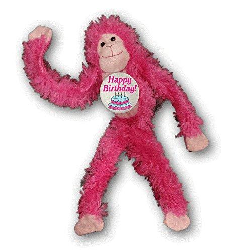 Happy Birthday - Pink Monkey Stuffed Animal Plush Doll w/ Pinback Button]()