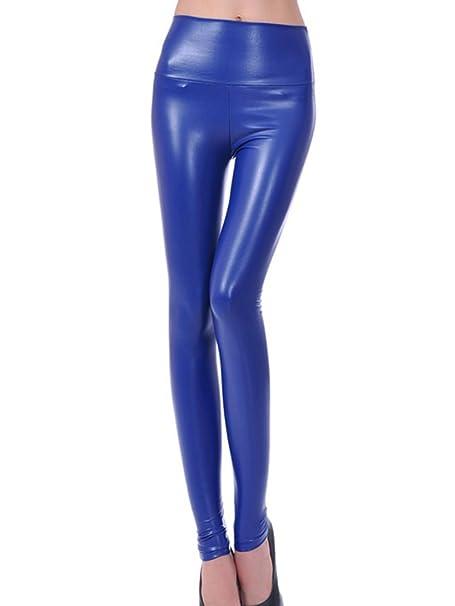 3735499b88 Gladiolus Mujeres PU Cuero Leggings Skinny Elásticos Treggings Pantalones  Cintura Alta Leggins Pantalon  Amazon.es  Ropa y accesorios