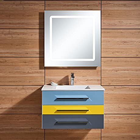 D HYH 31 In Wall Mount Bathroom Vanity Set With Single Sink And LED Mirror D 668800