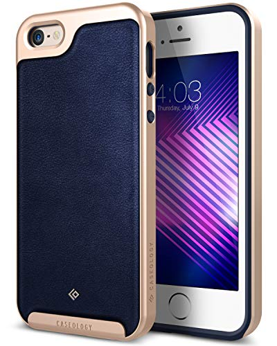 Caseology Envoy for iPhone SE / 5S / 5 Case (2016) - Premium Leather - Leather Navy Blue - Leather Collection Bonded