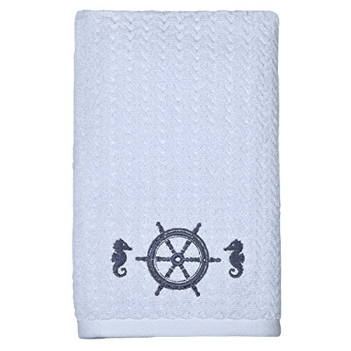 Peri Home Skipper Wheel Hand Towel, 100Percent Cotton, Blue, 15