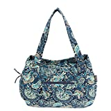 MAGOU Quilted Cotton Handle Bags Shoulder Bag (Peacock Blue)