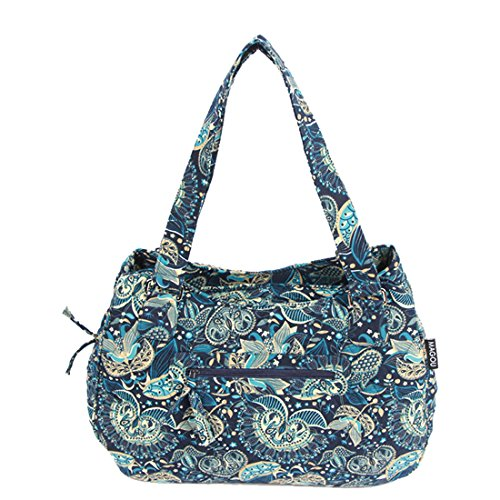 Peacock Fabric Handbags - Quilted Cotton Handle Bags Shoulder Bag (Peacock Blue)