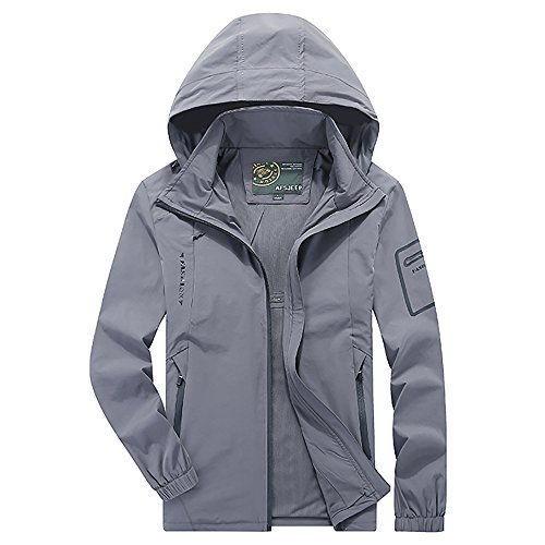 Varsity Dance Costumes - ELEPHANT DANCING Mens Windproof Waterproof Sportswear Hooded Softshell Outdoor Jacket, Gray