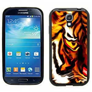 Samsung Galaxy S4 SIIII Black Rubber Silicone Case - Tiger painting Abstract vibrant colors awesome picture animal tiger