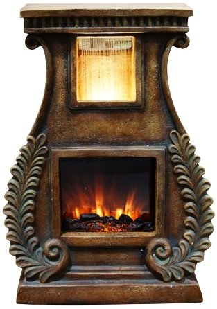 Alpine GXT614S LED Fireplace Fountain with Fern Detail Alpine Corporation