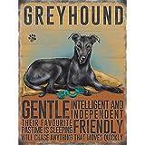 Black Greyhound Dog Metal Sign Plaque - Gentle Intelligent and Independent...