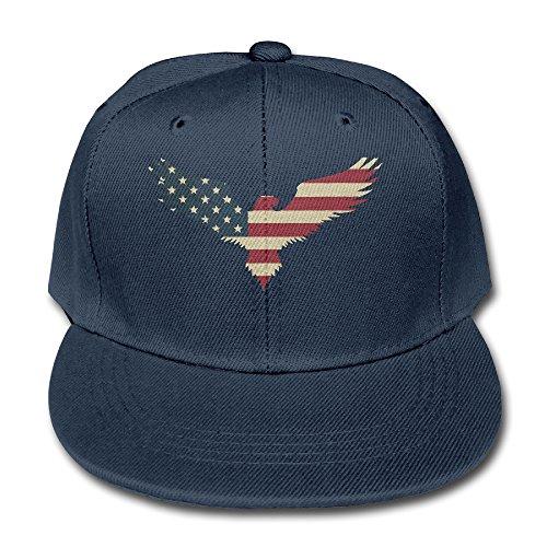 American Flag Bald Eagle Youth Unisex Adjustable Flat Hat Bi