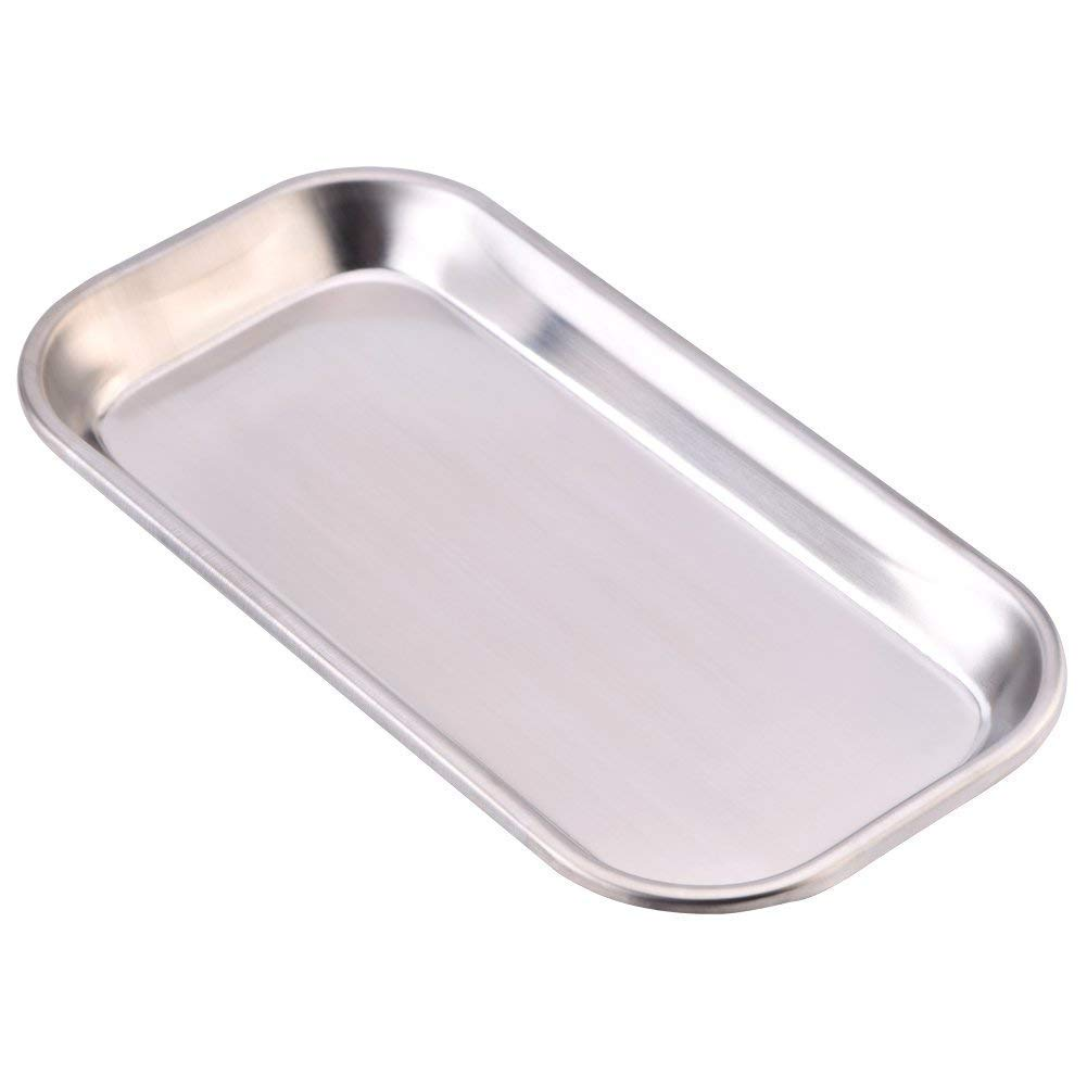 Dental Tray 201 Stainless Steel Medical Instrument Tray Clinic Lab Useful Tray Tool, Easy Clean(8.85 x 4.52 x 0.78 Inchs In Size) Hilitand