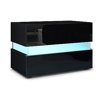 Nachttisch Mit Beleuchtung nachttisch nachtkonsole flow korpus in schwarz matt front in