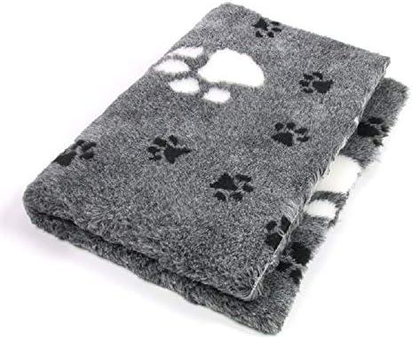 Tierisch-tolle Geschenke ProFleece Premium Hundedecke Haustiermatte 3-farbig grau mit Pfotenabdruck | rutschfest | Antibakteriell | Antiallergen | Atmungsaktiv | Isolierend | Waschbar