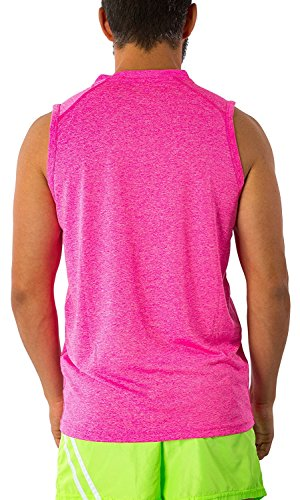 Men's Dri Fit Moisture Wicking Quick Dry UPF 40 UV Sun Protection Sport Athletic Performance Sleevless Muscle Shirt Tank Top (Medium, Hot Pink) by Exist (Image #2)