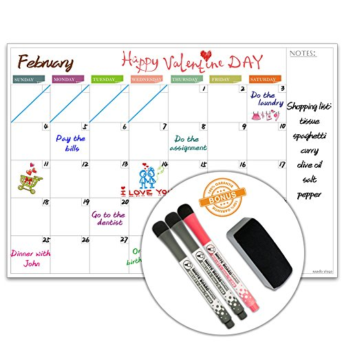 Dry Erase Calendar by Nardo Visgo Monthly Scheduling Calendar Message Board Family Planner Organizer 16 -Inch by 11.4-Inch, Dry Erase Board for Kitchen, Office (multicolored) by Nardo Visgo