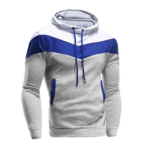 Sumen Mens Sweatshirt, Retro Long Sleeve Hoodie Jacket Casual Pocket Tops (Gray, - Male Retro