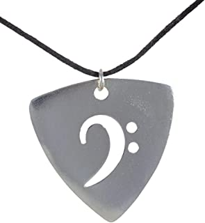 product image for From War to Peace Silver-Dipped Bass Pick Rock and Roll Patina Pendant Necklace on Adjustable Natural Fiber Cord