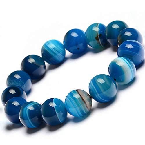 NUKIC Real Natural Gemstones Bracelet , Genuine Blue Tiger Eye Semi-Precious Stone Healing Power Crystal Stretch Beaded Bracelet,Unisex