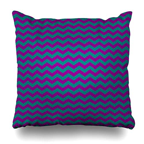 HomeOutlet Throw Pillow Cover Green Abstract Teal Purple Chevron Pattern Mosaic Amp Artistic Classic Continuity Creative Drawing Pillowcase Square Size 16 x 16 Inches Home Decor Sofa Cushion Case