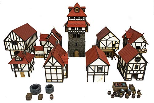 War World Gaming Medieval Town Complete Township (Painted / unpainted) - 28mm Scale Fantasy Wargame Model Terrain Scenery from War World Gaming