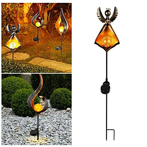 FOONEE Garden Solar Light Outdoor Decorative Flame Lamp, Waterproof LED Solar Flame Wrought Iron Lamp, Solar Powered Garden Lights for Walkways Landscaping Path Patio Driveway (1 Piece)