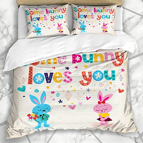 Ahawoso Duvet Cover Sets Queen/Full 90x90 Holiday Day Some Bunny Loves You Retro Heart Rabbit 50S 60S Blush Design Note Microfiber Bedding with 2 Pillow Shams ()