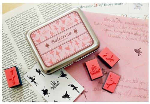 (9 Kinds Korea DIY Woodiness Rubber Stamp- Tin Box Set -Ballerina)