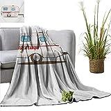 PrimoMol Weighted Blanket for Kids Camper,Cute Vintage Van Recreational Caravan Travelers Truck on