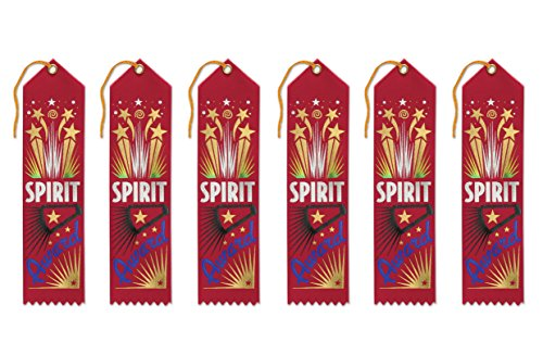 Beistle AR020 Spirit Award Ribbons, 2 by 8-Inch, 6-Pack