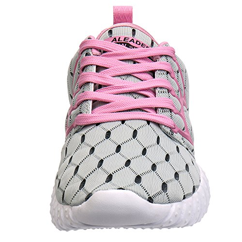 Women's Lightweight Mesh ALEADER Shoes Sport Pink Lgray Running ZFqwwd7B
