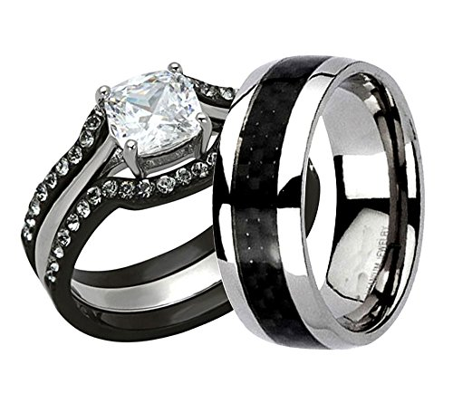 Cushion Cut Men Ring (FlameReflection Black Stainless Steel Titanium Cushion Cut CZ His And Hers Wedding Ring Set Women Size-5 & Men Size-7)