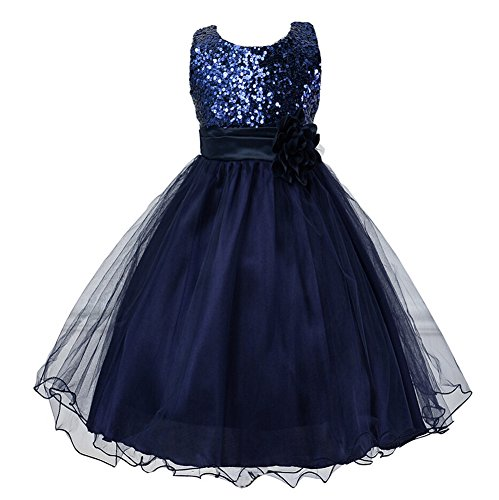 Girls Flower Sequin Princess Dress Bridesmaid TuTu Tulle Birthday Party Dress,Navy,6-7 (Girls Navy Blue Dress)
