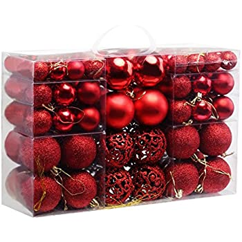 Amazon sea team 70mm276 shatterproof clear plastic christmas naler assorted christmas balls shatterproof christmas ornaments set decorative baubles pendants with reusable hand held gift package for holiday xmas garden solutioingenieria Choice Image