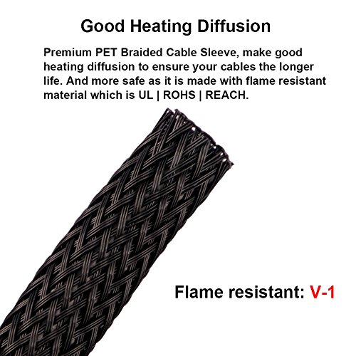 100ft -1/4 inch Flexible PET Expandable Braided Cable Sleeve, Premium Wires Sleeving Management and Organizer, Protector for TV, Audio, PC, and other Home or Office Device Cords by MILAPEAK (Black) by MILAPEAK (Image #2)