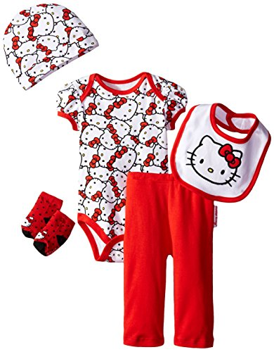 Hello Kitty Baby Girls' Baby Gift Set, Red, 0-6 Months