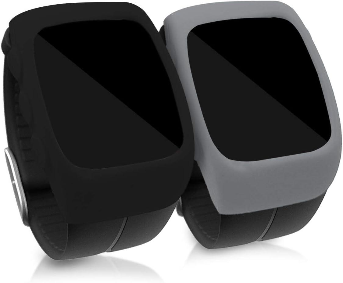 kwmobile 2 Fundas Compatible con Polar M400 - Cubierta Monitor de Actividad de Silicona Negro/Antracita